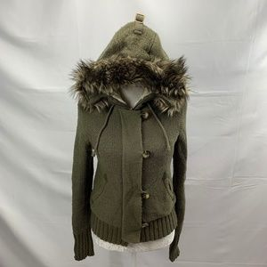 Fleecy Hooded Sweater Jacket Faux Fur Trimmed Hood